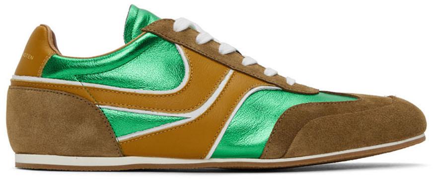 Dries Van Noten 绿色金属感运动鞋