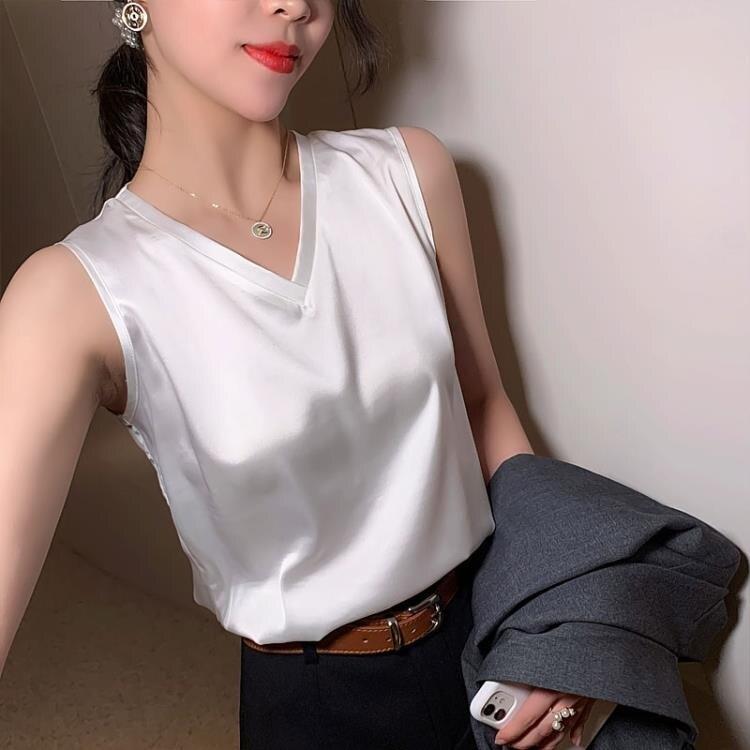 「樂天優選」緞面上衣 V領冰絲緞面吊帶背心女職業西裝寬鬆大碼內搭打底外穿白色上衣夏