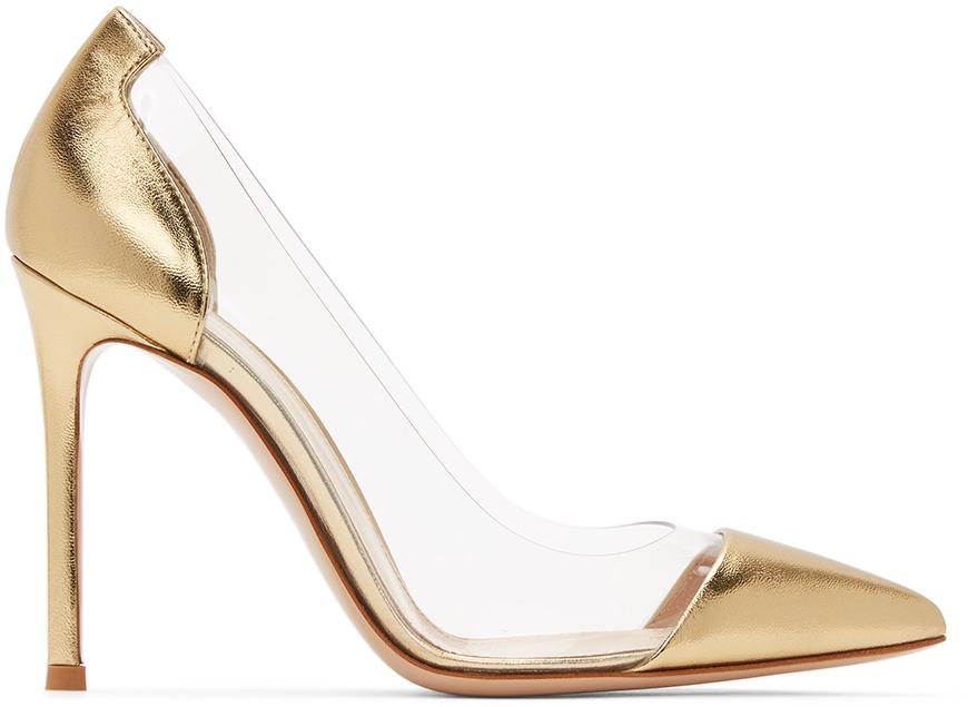 Gianvito Rossi 金色 Plexi 105 漆皮高跟鞋