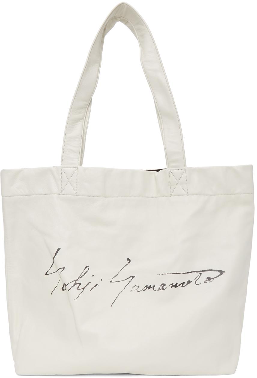 Yohji Yamamoto 白色 Signature 徽标托特包