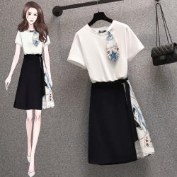 KVOLL-時尚休閒拼接撞色設計感裙套裝組L-4XL