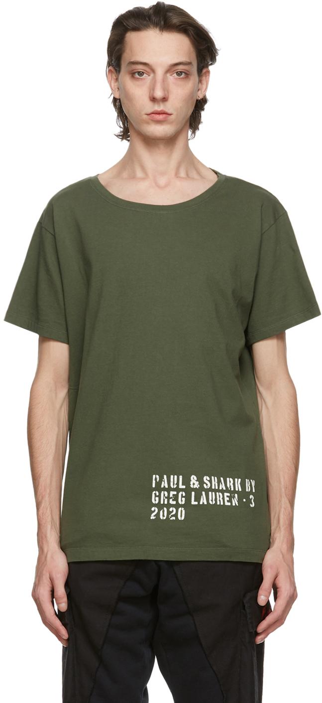 Greg Lauren 军绿色 Paul & Shark 联名 Basic T 恤
