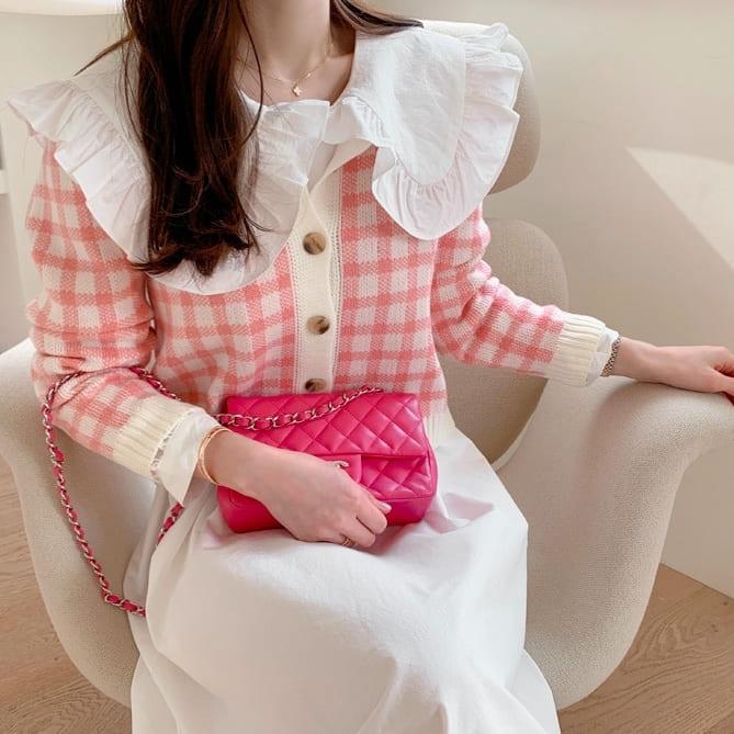 【限量現貨供應】韓國製.甜美格紋荷葉邊拼接針織排扣開襟外套/上衣.白鳥麗子 出清