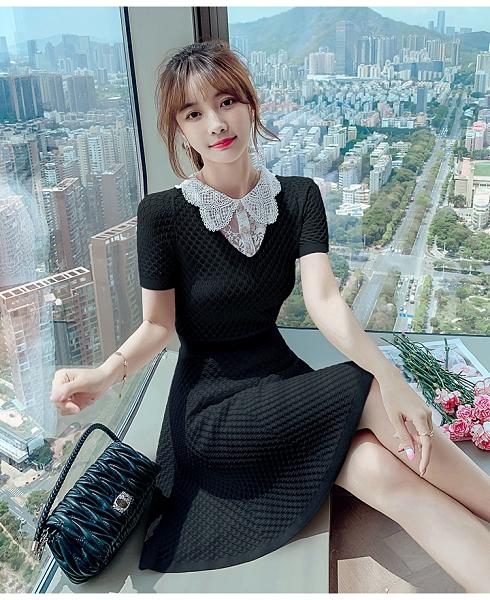 VK旗艦店 韓系優雅菱格紋娃娃領拼接蕾絲套裝短袖裙裝