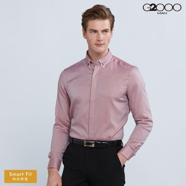 G2000全棉條紋長袖上班襯衫-紅色