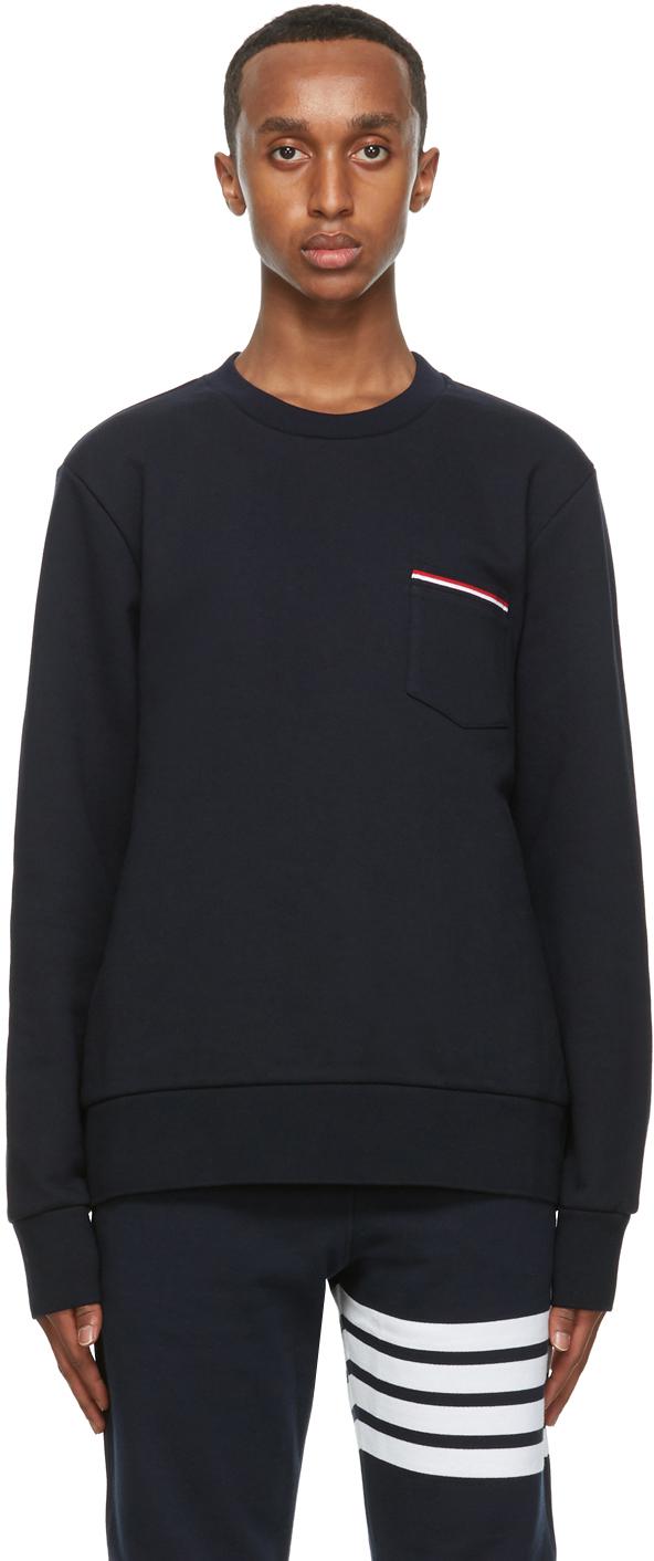 Thom Browne 海军蓝条纹贴袋套头衫