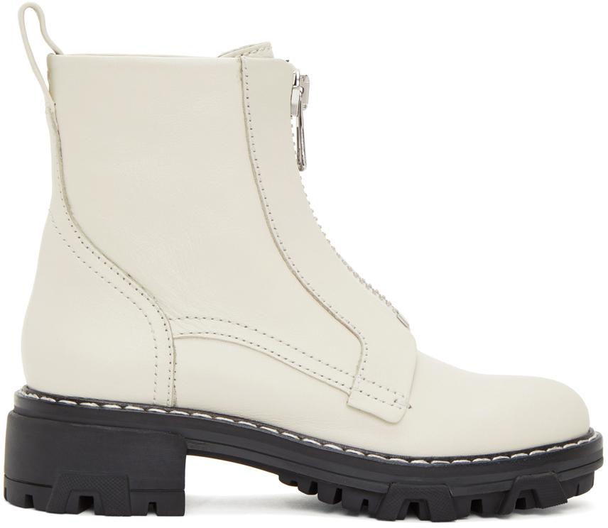 Rag & Bone 灰白色 Shiloh 拉链踝靴