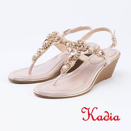 kadia.古典水鑽人字楔型涼鞋(1305-A5金色)
