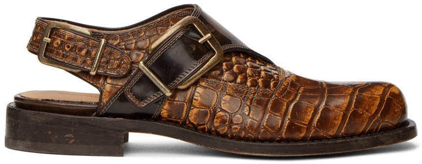 Dries Van Noten 棕色皮革孟克鞋