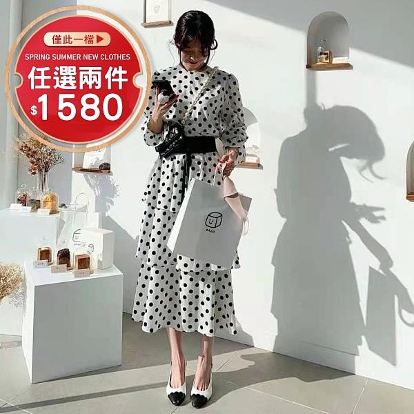 連身裙.甜美水玉點點雪紡長版蛋糕裙洋裝(附腰帶).白鳥麗子