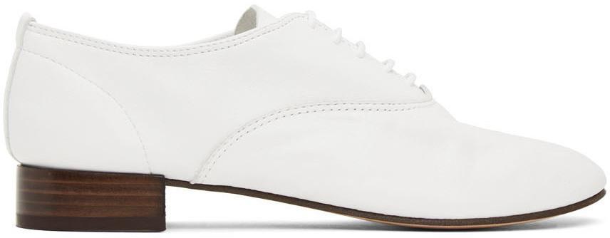 Repetto 白色 Zizi 小羊皮牛津鞋
