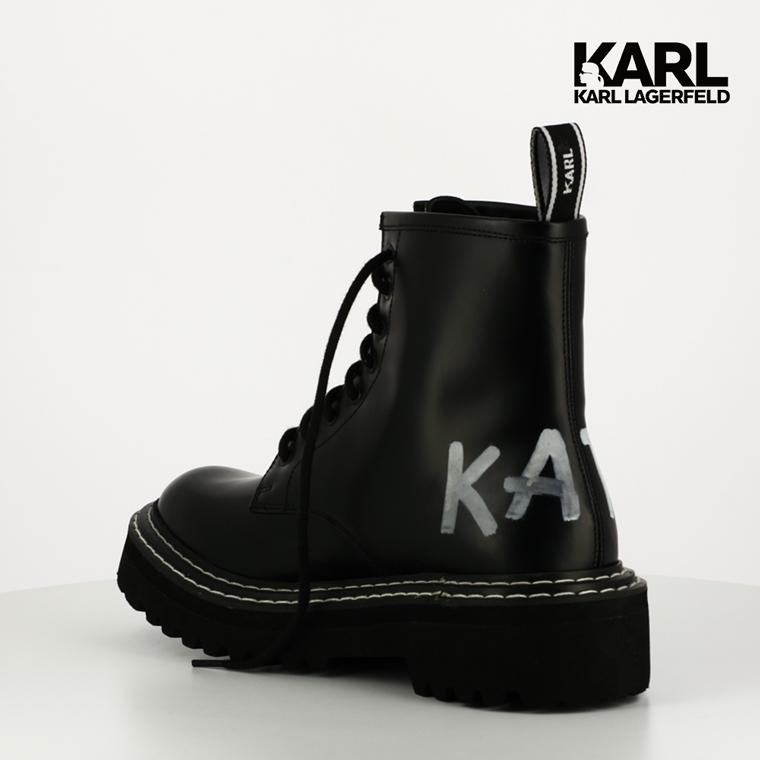 ▼下殺38折▼【KARL LAGERFELD】PATROL II 筆刷LOGO中筒靴-黑(原廠公司貨)