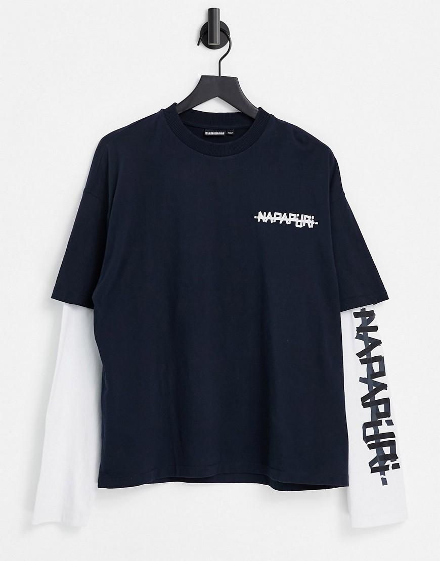 Napapijri Solt t-shirt in navy/white