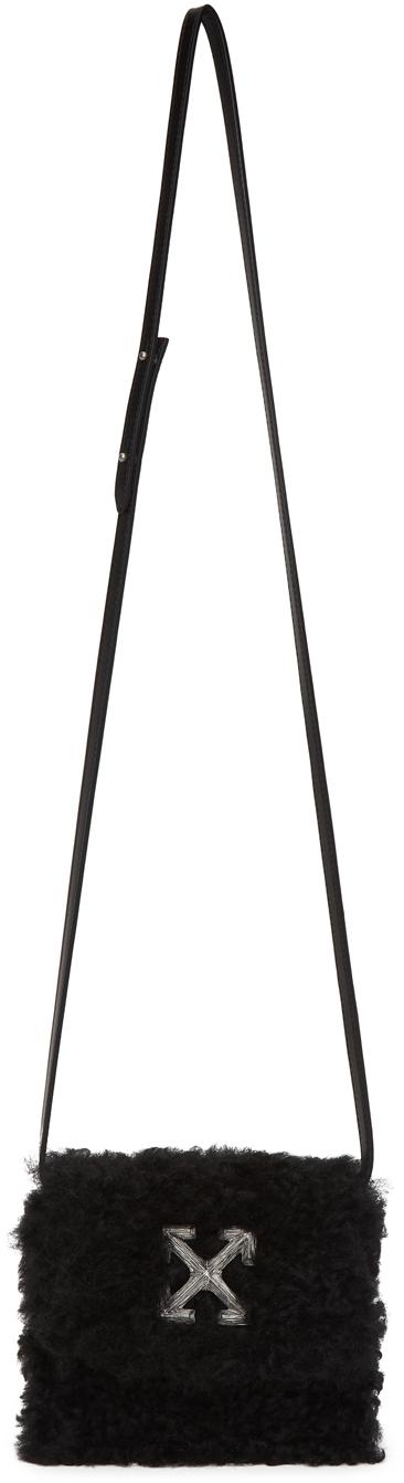 Off-White 黑色 0.7 Jitney 剪羊毛单肩包