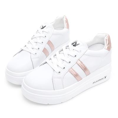 PLAYBOY  閃耀絢彩 輕量厚底小白鞋 -白玫瑰金-Y73051J