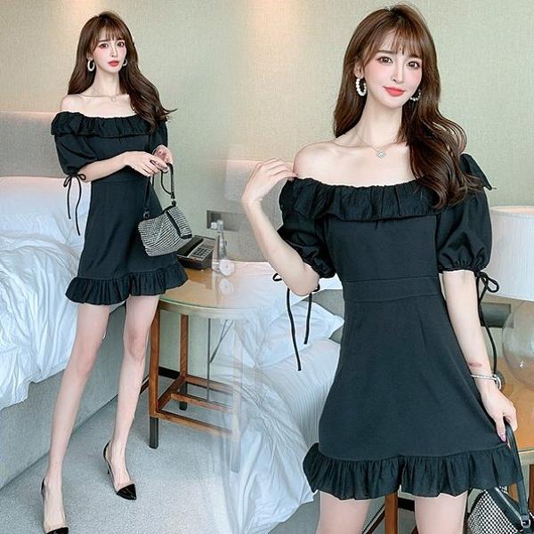 連身裙洋裝裙子S-XL法式小眾顯瘦復古氣質黑裙泡泡袖連衣裙T423A-765.胖胖唯依