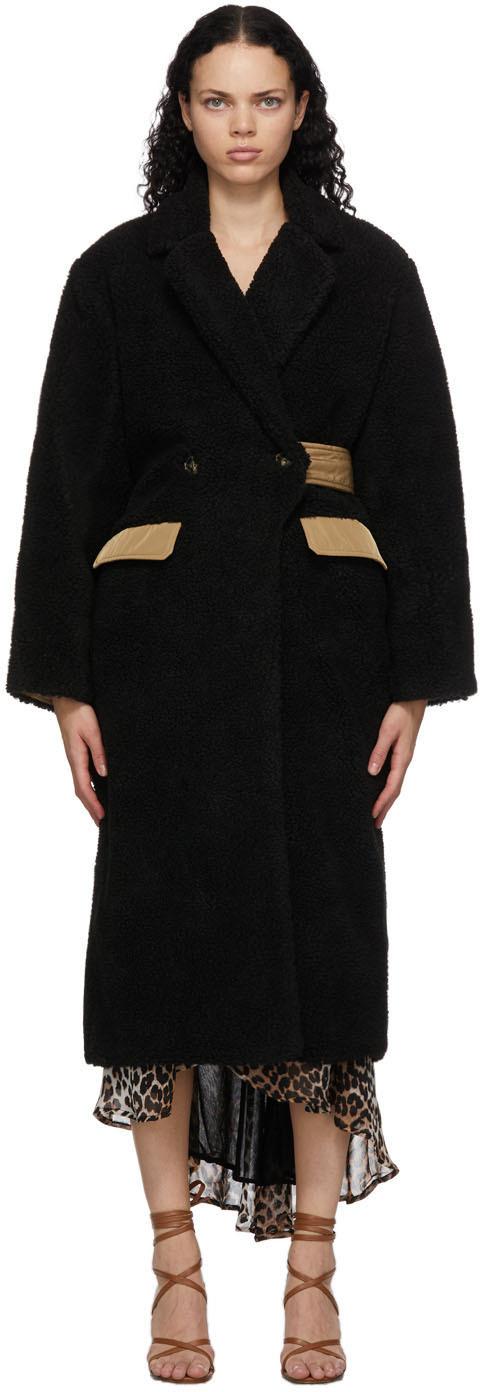 GANNI 黑色 Teddy 大衣