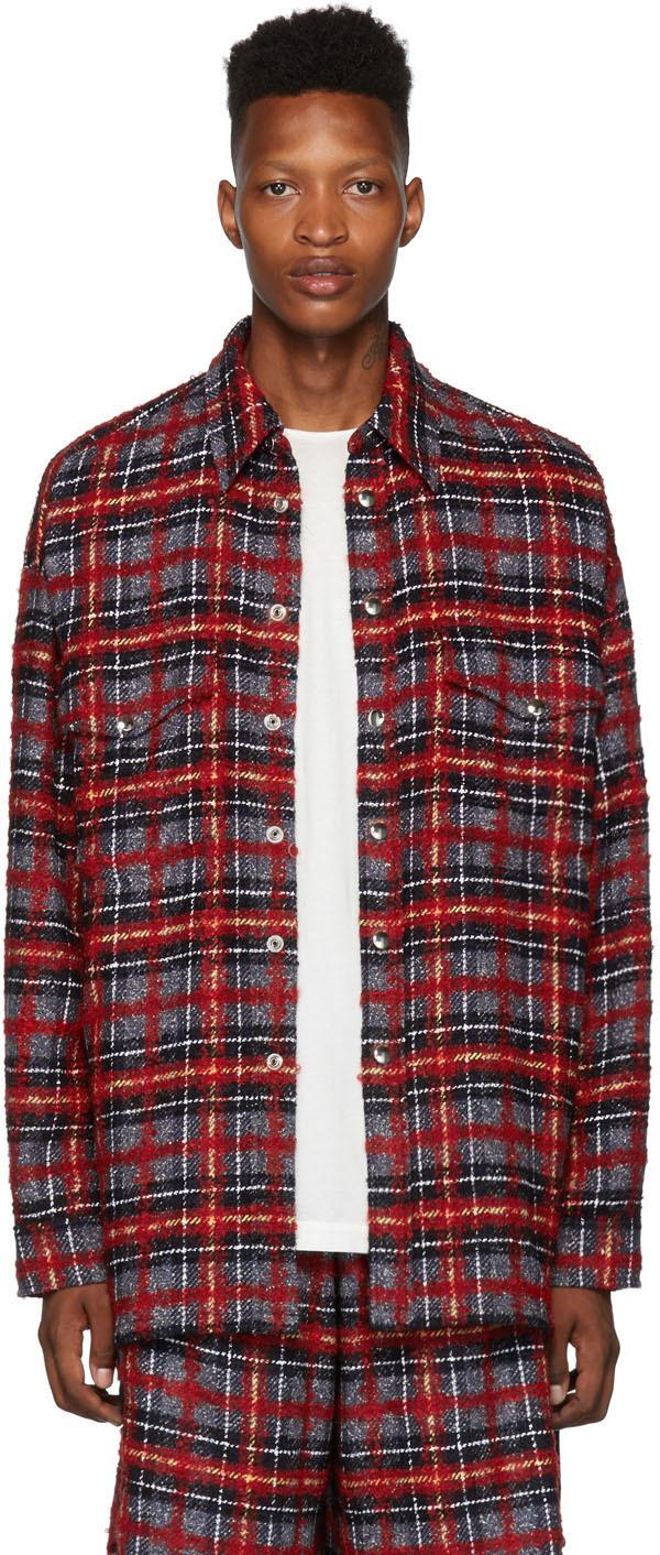 Faith Connexion 红色 & 黑色系带粗花呢夹克衬衫