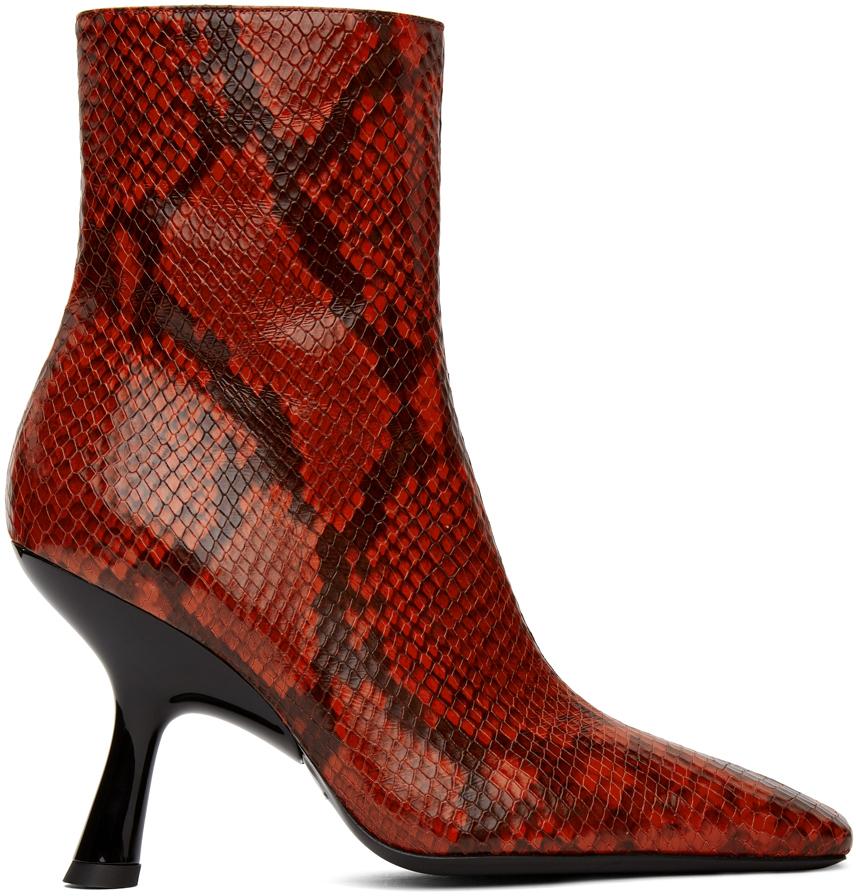 Simon Miller 红色 Foxy 蜥蜴纹踝靴