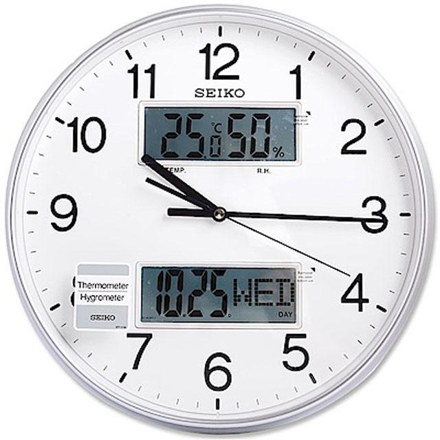 SEIKO 精工 銀色光感 雙顯示功能 溫度/溼度/日期 靜音掛鐘 時鐘(QXL013S)