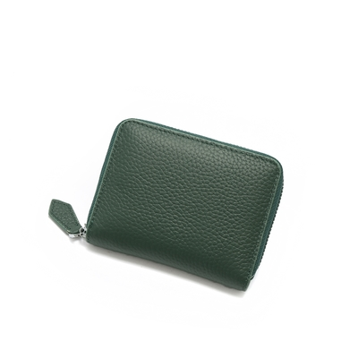 ANNA DOLLY 經典單色吐司拉鍊短夾 墨綠色