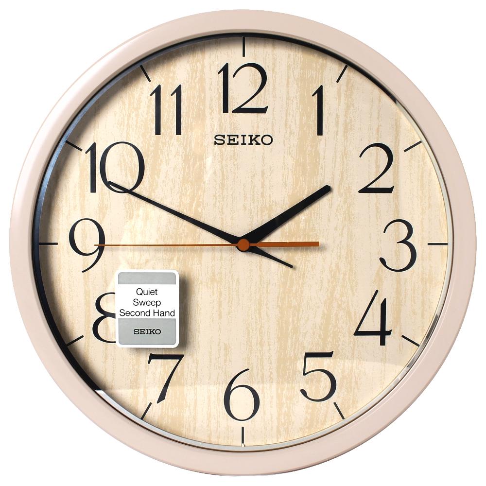 SEIKO 精工 歐風仿木紋 滑動式秒針 靜音 時鐘 掛鐘(QXA718A)