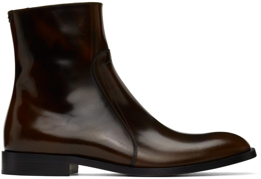 Maison Margiela 棕色拉链踝靴