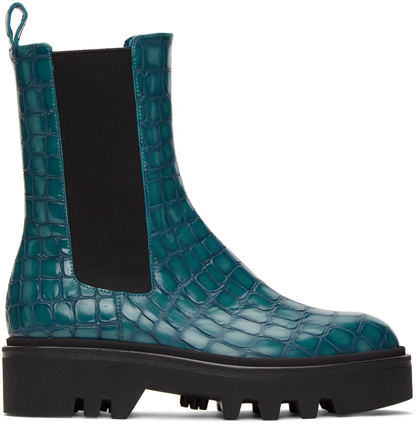 Dries Van Noten 蓝色鳄鱼纹切尔西靴