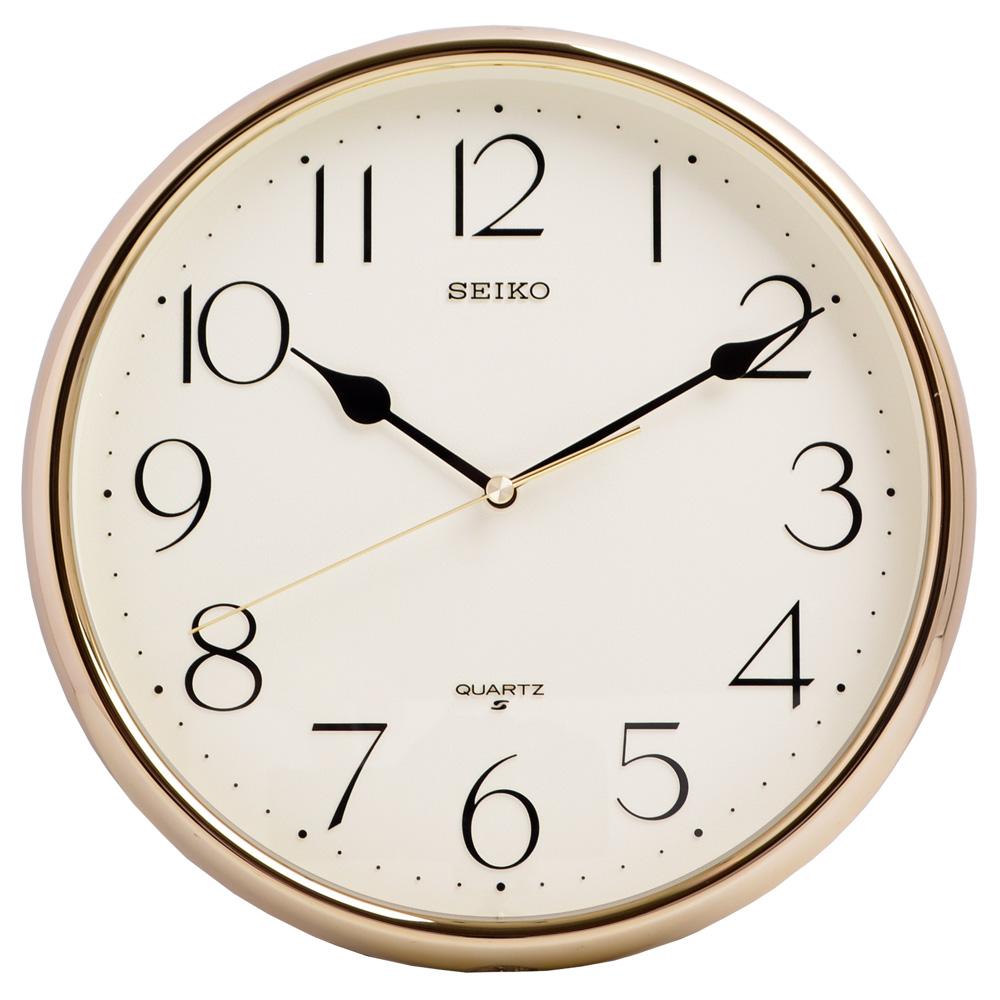 SEIKO 精工 閃耀金色外框 清新數字顯示 時鐘 掛鐘-28cm