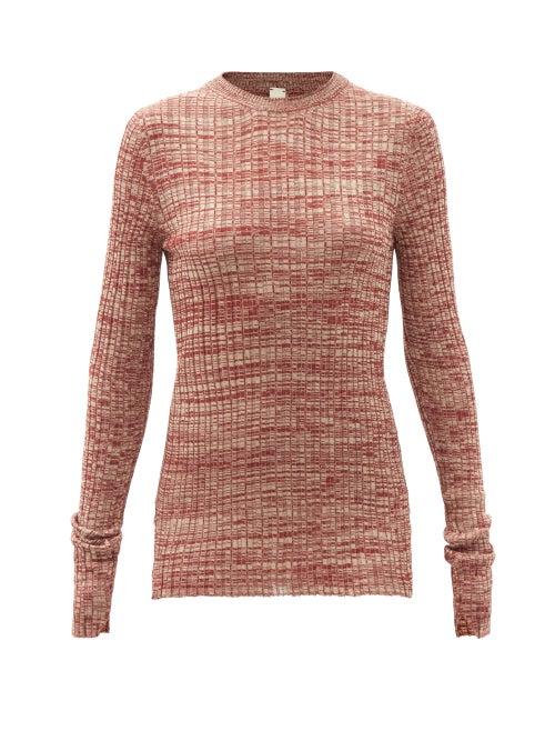 Petar Petrov - Mélange Silk-knit Sweater - Womens - Red White