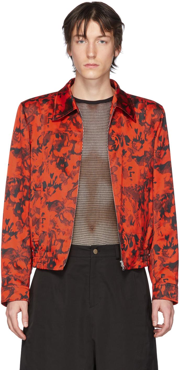 Dries Van Noten 红色 & 黑色花卉拉链夹克