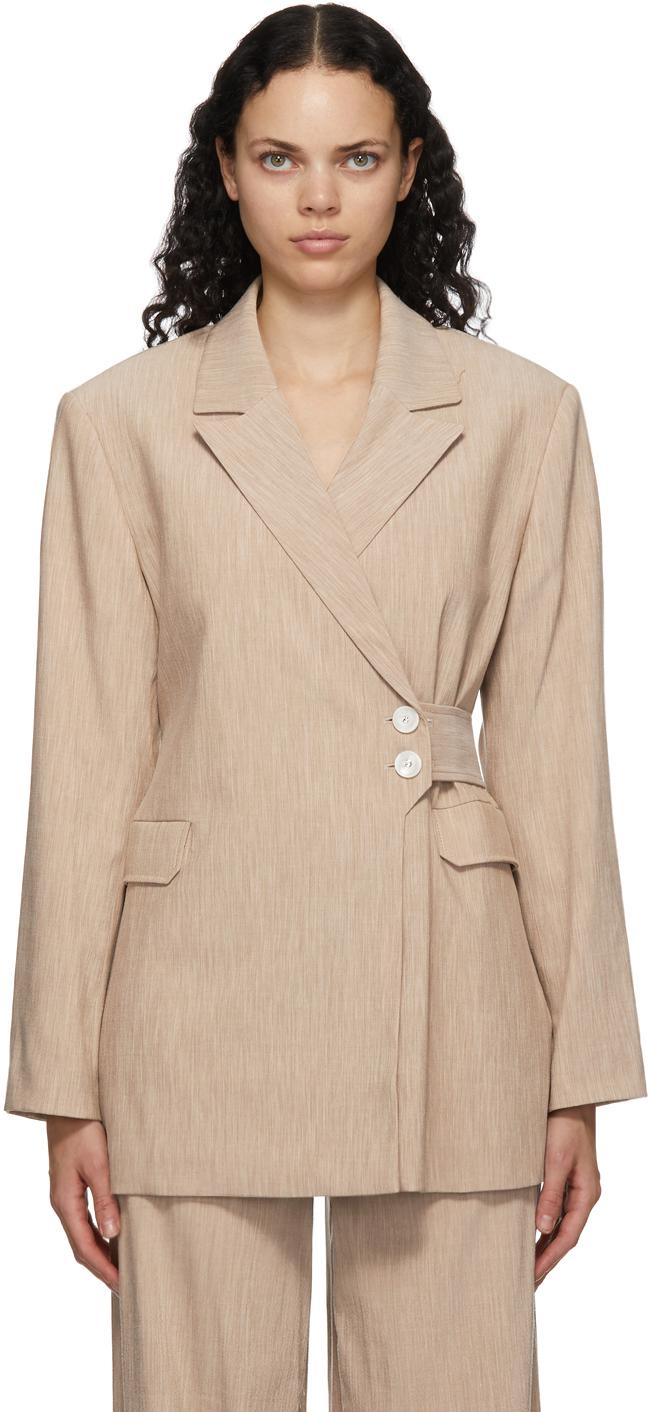 GANNI 驼色 Suiting 裹身西装外套