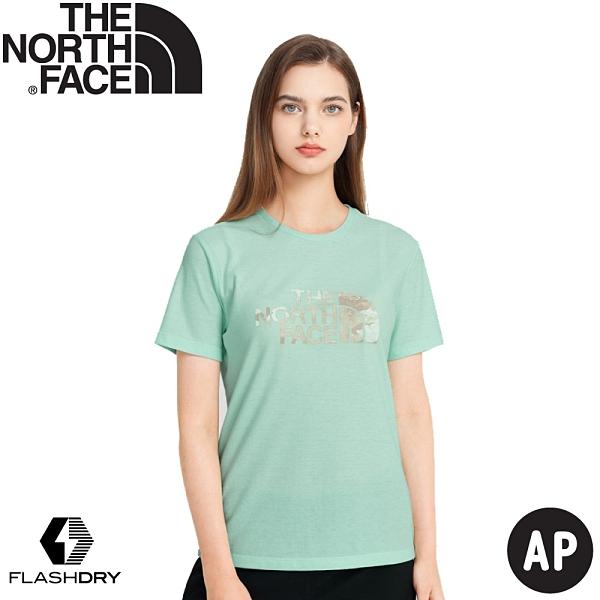 【The North Face 女 LOGO短袖上衣 AP《青蘋果綠》】4UB7/短T/T恤/休閒短袖