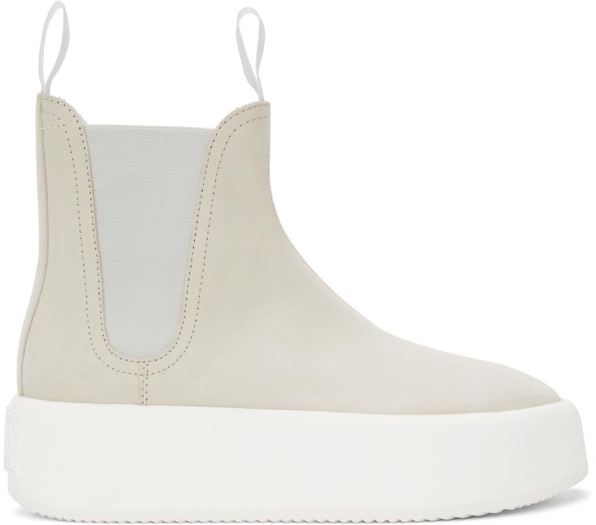 MM6 Maison Margiela 米色厚底踝靴
