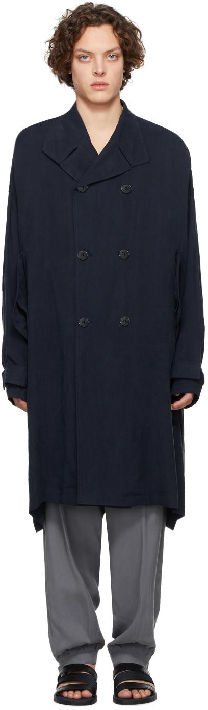 Giorgio Armani 海军蓝铜氨丝双排扣风衣