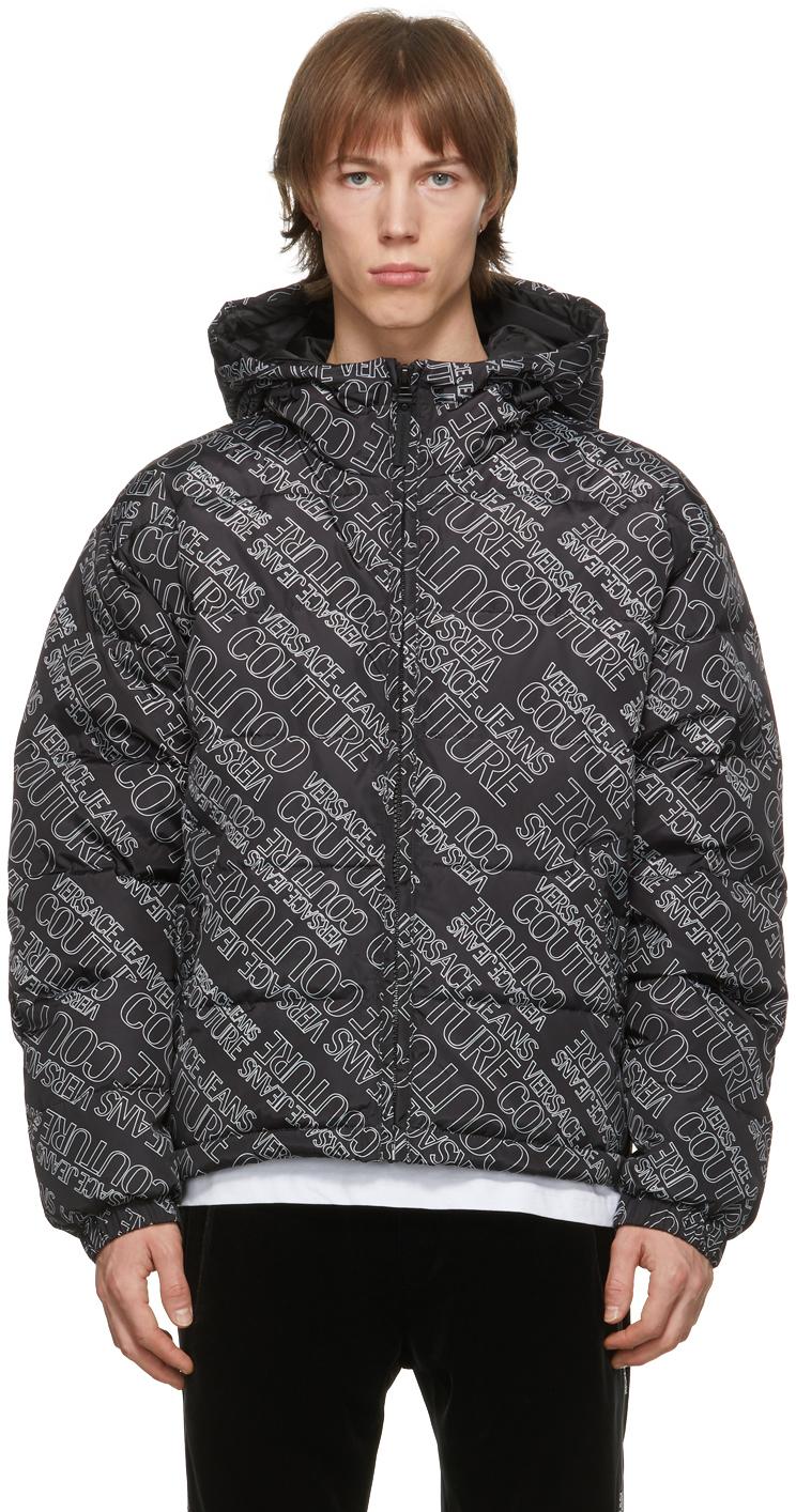 Versace Jeans Couture 黑色 Logomania 填充夹克