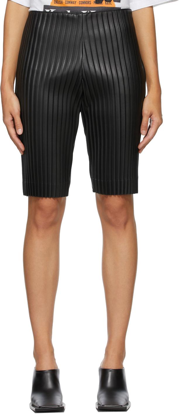 We11done 黑色褶裥短裤