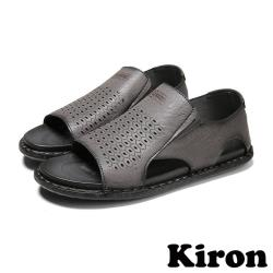 Kiron 手工涼鞋平底涼鞋/個性六角蜂巢沖孔手工縫線休閒平底涼鞋-男鞋 灰