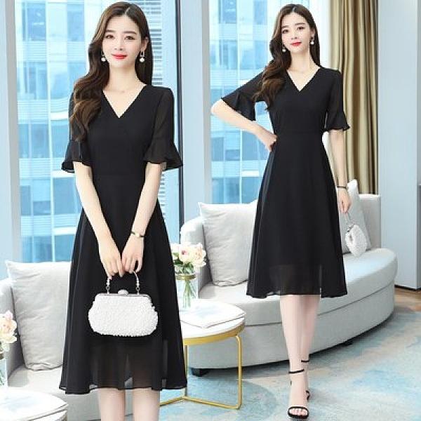 洋裝 裙子實拍S-2XL雪紡連衣裙 簡約修身顯瘦氣質大擺長裙復古赫本小黑裙T105.8172皇朝天下