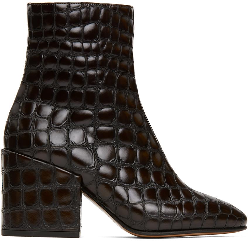 Dries Van Noten 棕色鳄鱼纹踝靴