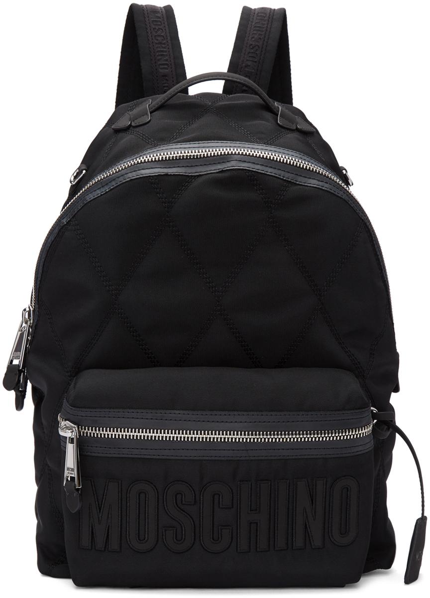 Moschino 黑色绗缝尼龙双肩包