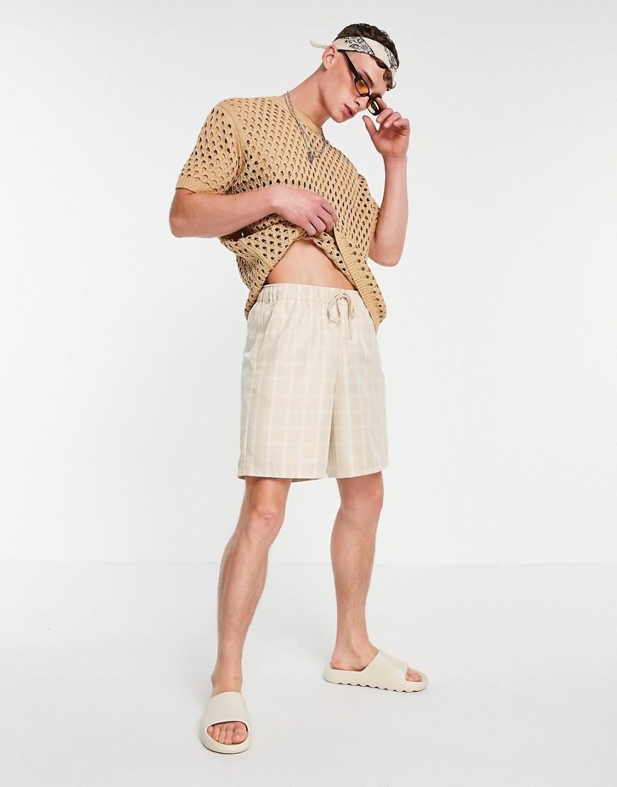 ASOS DESIGN boxy bermuda shorts in tonal check-Neutral