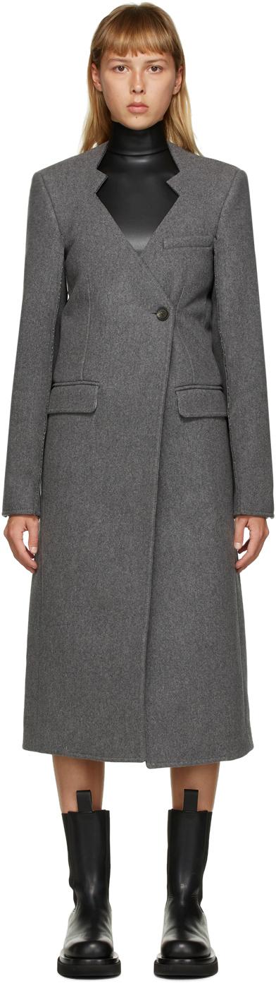 Peter Do 灰色镂空大廓形羊毛大衣