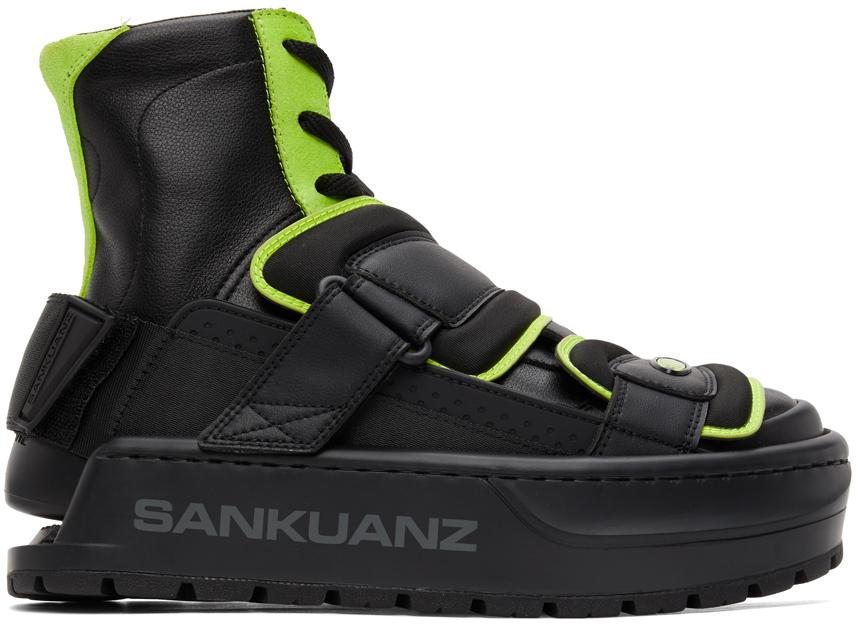Sankuanz 黑色 & 绿色 Chunky Protector 高帮运动鞋