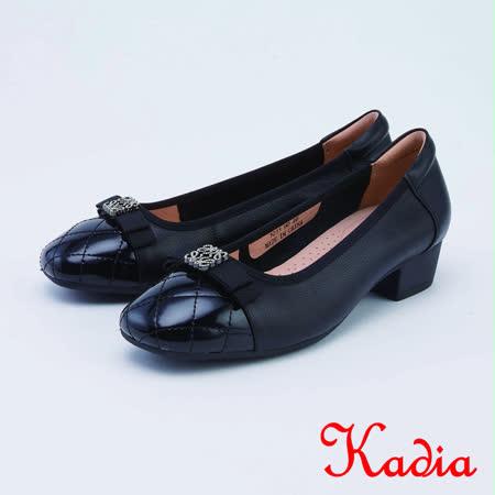 kadia.真皮蝴蝶結飾扣菱格紋拼接皮質女鞋(1011-90黑色)