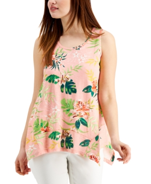 Style & Co Petite Floral-Print Handkerchief-Hem Tank Top, Created for Macy's