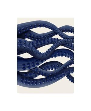 "Fab Funky Giant Octopus Blue Triptych B Canvas Art - 15.5"" x 21"""