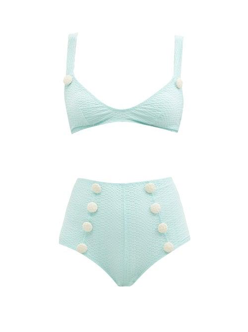 Lisa Marie Fernandez - Magdalena High-rise Textured Bikini - Womens - Green
