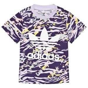 adidas Originals Purple Print Trefoil Logo Infants T-Shirt 9-12 months (80 cm)