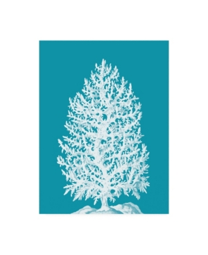 """Fab Funky Coral Tree White on Sea Blue Canvas Art - 36.5"""" x 48"""""""